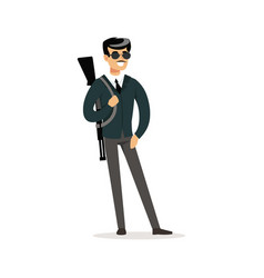 mafia man character in sunglasses with a gun on vector image