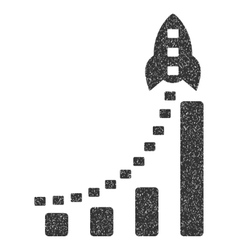 Rocket Business Bar Chart Grainy Texture Icon vector image vector image