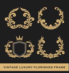 set of vintage luxury monogram frame template vector image