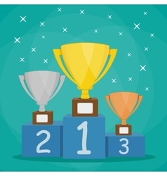 Trophy Cup on blue prize podium vector image vector image