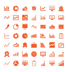 49 graph icons vector image