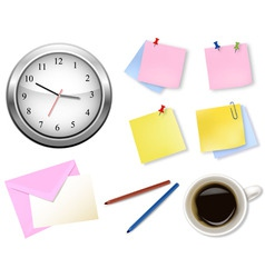 a clock and office supplies vector image