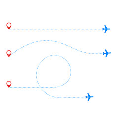 Airplane travel concept plane with start point vector