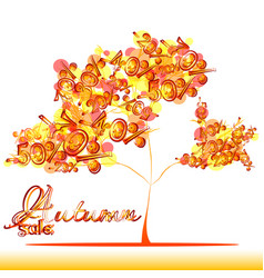 Autumn sale tree with foliage from percents vector