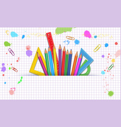 Back to school white background with colorful vector