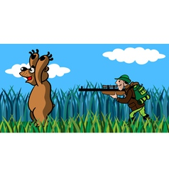 Bear and the hunter vector