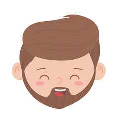 bearded man face character isolated icon white vector image