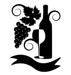 black-and-white image of wine vector image