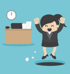 Business Woman sneak out job vector