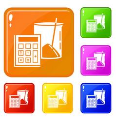 Calculator icons set color vector