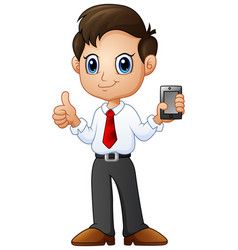 Cartoon businessman holding a smartphone with ok h vector