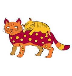 cat and kitten vector image