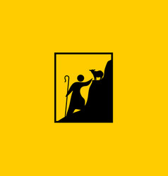 christian symbols a shepherd with a staff rescues vector image
