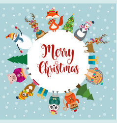 christmas card with cute dressed animals and vector image