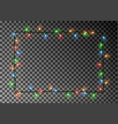 christmas lights border light string frame vector image