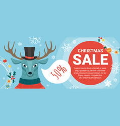 christmas sale offers promotion with cartoon cute vector image