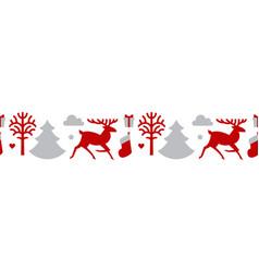 christmas seamless patterin with reindeer fir vector image