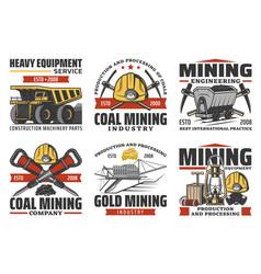 Coal mining production miner equipment tools vector