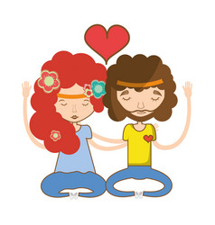 couple relaxing and meditation icon vector image