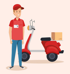 Courier character delivery service icon vector