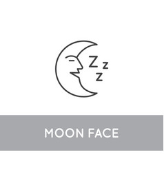 crescent moon with face on night sky vintage vector image