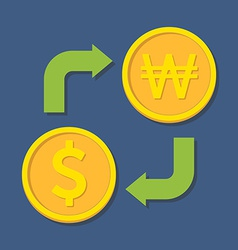Currency exchange Dollar and Won vector image