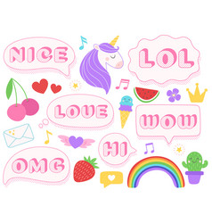 cute lol stickers wow omg and nice girls doll vector image