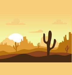 desert sunset silhouette landscape arizona or vector image