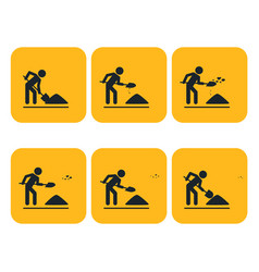 Digging man animation throwing ground ahead vector