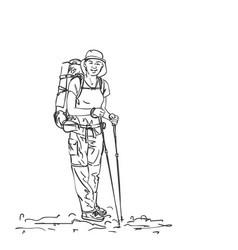 drawing girl backpacker hiker sketch hand vector image