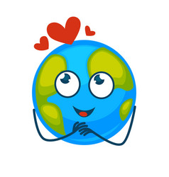 Earth planet with face and red hearts above vector