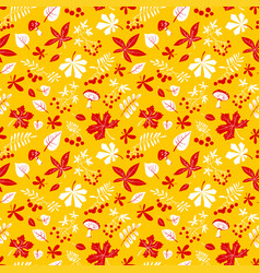 fall season floral seamless pattern autumn vector image vector image