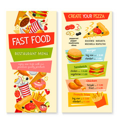 fast food flat menu design for restaurant vector image