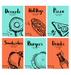 Fast food vintage hand drawn graphic design set vector