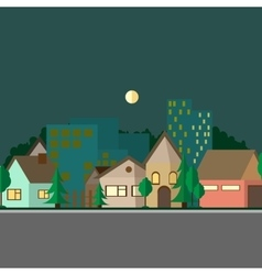 Flat design urban landscape night vector image