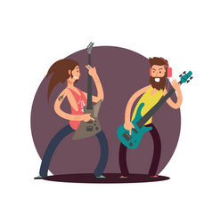 flat guitarists cartoon character design vector image