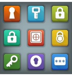 Flat icon set White Symbols Lock Key Password vector image