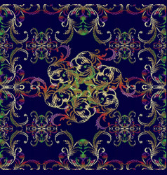 Floral embroidery seamless pattern in vector