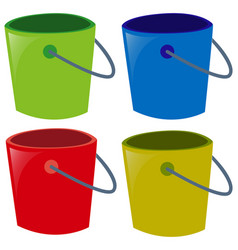 four buckets in different colors vector image