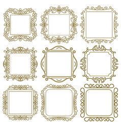 frame calligraphic set monogram emblem heraldic vector image