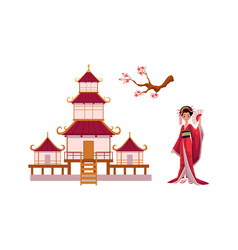 Geisha with fan sakura branch pagoda set vector