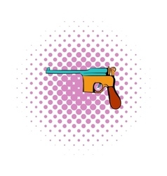 German pistol icon comics style vector