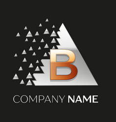 golden letter b logo in silver pixel triangle vector image