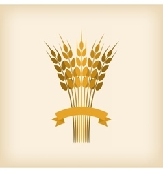 Golden sheaf of wheat with ribbon vector