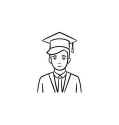 graduate student hand drawn sketch icon vector image