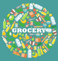 Grocery food store items in round frame vector