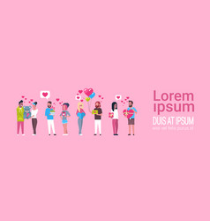 group people holding presents on template pink vector image