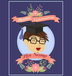 Happy graduation boy blue greeting card vector