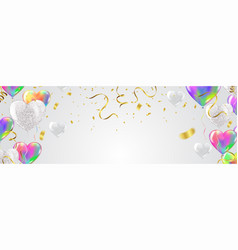 heart colorful balloons and ribbon isolated on vector image