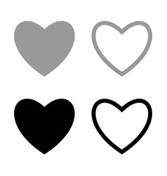 heart set for valentine days black and grey color vector image